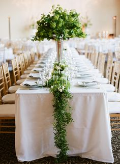 #green #garland #centerpieces Photography: Josh Gruetzmacher Photography - joshgruetzmacher.com, Florals by http://michaeldaigian.com/ Read More: http://stylemepretty.com/2013/10/01/san-francisco-modern-wedding-from-josh-gruetzmacher/