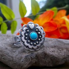 Mexico Flower Ring - Turquoise Ring