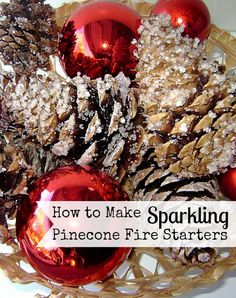 It only takes one special ingredient to make these sparkling pinecone fire starters. Perfect for starting a fire, the crystals also look great in decor.