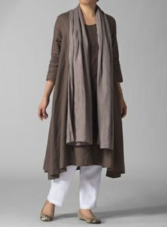 linen trapese dress:  definitely over straight leg pants or several inches longer, by itself.