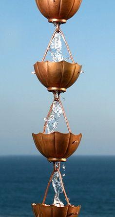Umbrella Rain Chain Rain Chains, Cup Design, Outdoor Rooms, Home Projects, Planters, Copper, Gardens, Backyard, Inspiration