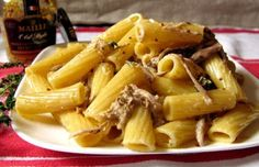 Recipe: Rigatoni with Shredded Pork in Mustard Cream Sauce. A different way to use up some leftover shredded pork.