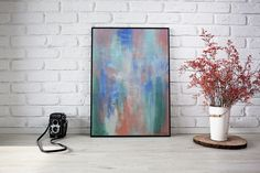 Original Abstract Painting on Paper - Bedroom decoration Colorful Artwork for Home Modern Painting by DeniseArtStudio on Etsy Geometric Poster, Geometric Wall Art, Abstract Wall Art, Triangles, Black Wall Art, Colorful Artwork, Scandinavian Art, Minimalist Art, Wall Art Prints