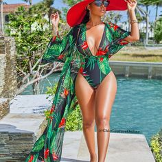 Tropical Print Beach Robe Cover Up & Plunging Halter Neck Swimsuit - Whatlovely Langer Mantel, Mode Outfits, Club Outfits, One Piece Swimwear, Swimwear Fashion, Trendy Swimwear, Bikini Fashion, Wholesale Clothing, Shoes Wholesale