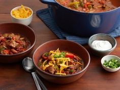 Hearty Sirloin Chili Recipe : Food Network Kitchen : Food Network - FoodNetwork.com  Beef, can be replaced with meat substitutes ..broken up garden burgers, canned meat substitutes, beef flavored TVP chunks, ect.