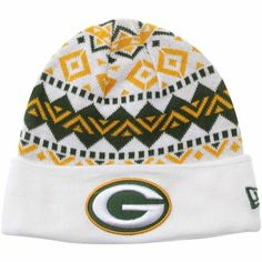 b52e8e148 New Era Green Bay Packers Ivory Cuffed Knit Beanie - White Green Gold
