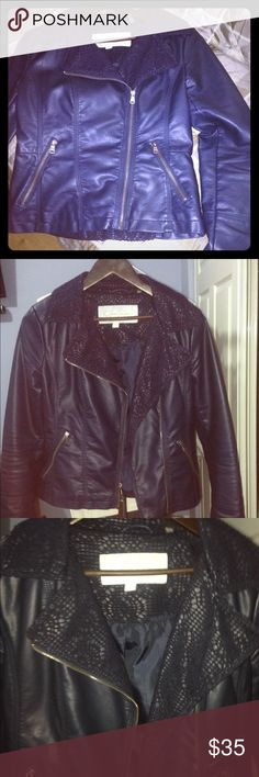 Jessica Simpson Faux Leather Blazer/Jacket Navy with lace trim, fitted, worn only once, excellent condition. Two hand zipper pockets and silky interior lining. Jessica Simpson Jackets & Coats Blazers
