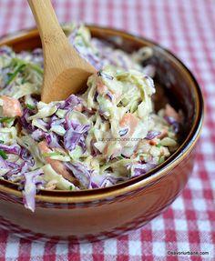Different Salads, Unique Recipes, Ethnic Recipes, Coleslaw Mix, Romanian Food, Cooking Recipes, Healthy Recipes, Cucumber Salad, Dressing Recipe