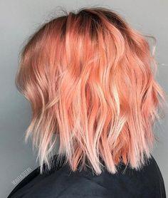 Peach Hair Colour Hair #peachhair #pastelhair #hairstyles