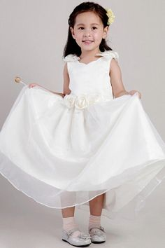Strapless Romantic White Flower Girl Dresses - Order Link: http://www.theweddingdresses.com/strapless-romantic-white-flower-girl-dresses-twdn0997.html - Embellishments: Flower , Lace , Sash; Length: Ankle Length; Fabric: Tulle; Waist: Natural - Price: 72.91USD