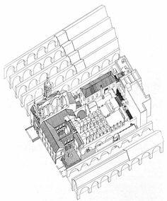 Atarazanas. Axonometria de las antiguas Atarazanas de 1252, con la inclusión del Hospital de la Caridad construido en los siglos XVII y XVIII.