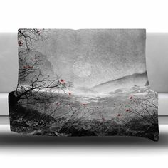 """East Urban Home The Red Sounds And Poems by Viviana Gonzalez Fleece Blanket Size: 90"""" L x 90"""" W"""