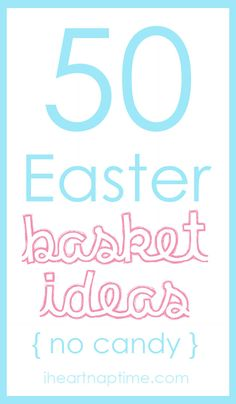 50 no candy Easter basket ideas! With Easter just around the corner I thought it would be fun to put together a list of things the Easter bunny can bring.besides candy! My kids are Hoppy Easter, Easter Bunny, Easter Eggs, Easter Food, Easter Decor, Holiday Crafts, Holiday Fun, Holiday Ideas, Jolly Holiday