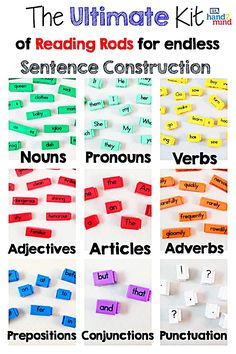 Reading Rods Sentence Construction Cubes For Kids Ages Learn Grammar, Usage And Punctuation, Visual Aid For Parts of Speech And Affixes, Homeschool Supplies (Set of Teaching Sight Words, Phonics Words, Literacy Stations, Literacy Centers, Kindergarten Literacy, Preschool, Sentence Building, Word Building, Spelling Activities