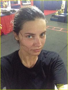 Brazilian super model VS - Adriana Lima .. Amazingly beautiful and works out like crazy. Nobody should look cute after a good workout :p
