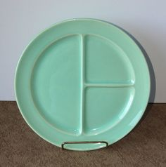 Taylor Smith & Taylor Lu-Ray Pastels Surf Green Grill Plate.