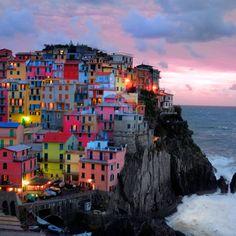 Cinque Terre Sunset  4x4 photograph Manarola Italy by robertcrum, $4.00  For Janna