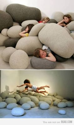 Pillows...I want a whole bunch of these for when the basement is refinished so me and the boys and baby Dianne can jump around and hide...WAY COOL!!!!