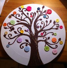 Cuadro de botones en lienzo redondo