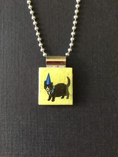 Cat scrabble pendant, handmade kitty jewelry, kitty cat necklace, recycled scrabble tile pendant, cat lover's gift, cat in hat, birthday hat by InSmallPackages on Etsy