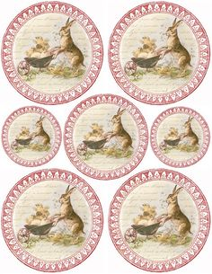 """Lilac & Lavender: Sweet Bunny & Chicks-Free printable """"Vintage style"""" image Great for adding to Jars of Easter Treats"""