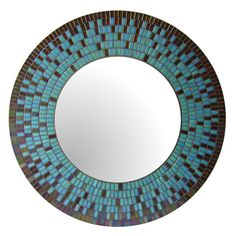 Round Mosaic Mirror Blue Brown Red Yellow Copper by opusmosaics