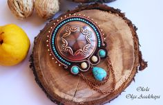 """Collection """"Captivated by Turquoise"""" Brooch """"On that stop of the copper mountain"""" Embroidery Embroidery, Turquoise, Havlite, Japanese Beads, Metallized Element, Copper Chain, Glass Beads"""