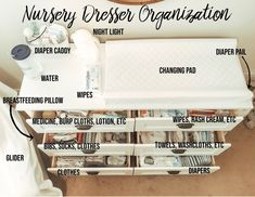 Baby Nursery Dresser Organization - Momma McGovern How Fit Is Your Kid I read an article the other d Baby Nursery Diy, Baby Room Decor, Diy Baby, Baby Nursery Ideas For Girl, Nursery Room Ideas, Girl Nursery Colors, Rustic Nursery Decor, Newborn Nursery, Baby Room Diy