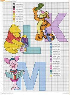 """Cross stitch patterns """"Winnie the Pooh Alphabet Cross Stitch Letters, Cross Stitch For Kids, Cross Stitch Boards, Cross Stitch Baby, Disney Stitch, Cross Stitching, Cross Stitch Embroidery, Cross Stitch Designs, Stitch Patterns"""