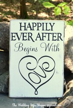 Wedding Sign Wedding Decor Ceremony Reception Engagement Bridal Gift Happily Ever After Begins With Love Bridal Shower Home Rustic Wooden Signs Hand Painted