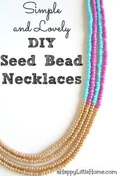 These beautiful DIY necklaces are simple to make and look lovely layered. Now I can create my own handmade necklaces with those beads I've been eyeing at the store!  This super simple DIY jewelry project that will make a big impact! I love the color block of gold seed beads - I totally have to make these!