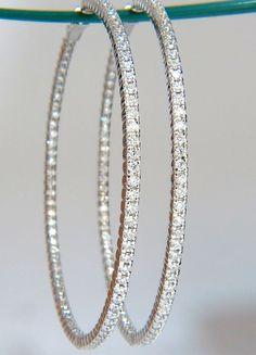 3.50ct 2.5 inch diameter large hoop diamond earrings. 7000
