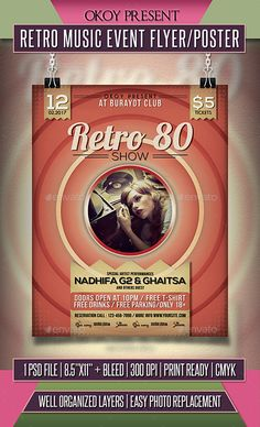 Retro Music #Event #Flyer / Poster - Events Flyers Download here: https://graphicriver.net/item/retro-music-event-flyer-poster/19532690?ref=alena994