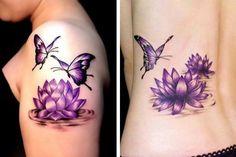 Purple Tattoos, Pretty Tattoos, Lotus Tatoos, Weight Loss Tattoo, Water Lily Tattoos, Flor Tattoo, Tattoo Designs, Drawings, Flowers