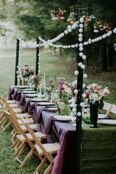 Feast under the stars (or sun!) to get the full effect of celebrating your wedding in the woods   Image by Coley & Co Photography