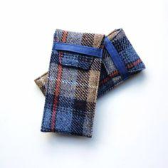 Harris Tweed glasses eyeglass case, padded, MacKenzie tartan, handmade by LifeCovers on Folksy, UK shipping incl. £18.00