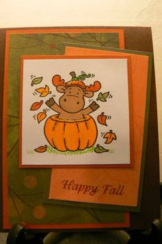 Riley Moose, Fall Pumpkin by ChocolateLover - Cards and Paper Crafts at Splitcoaststampers
