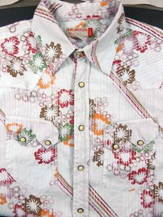 GUESS Mens Western Paisley Pearl Snap Long Sleeve Button Up Shirt Medium #GUESS #ButtonFront
