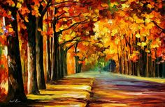 Leonid Afremov OAK ALLEY painting for sale - Leonid Afremov OAK ALLEY is handmade art reproduction; You can buy Leonid Afremov OAK ALLEY painting on canvas or frame. Basic Background, Under The Shadow, In Ancient Times, Palette Knife, Oil Painting On Canvas, Painting Trees, Painting Flowers, Original Image, Cotton Canvas