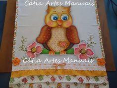 Pano de copa com Coruja pintada em estilo Country http://www.catiaartesmanuais.com/