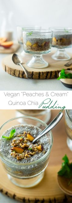 """Vegan """"Peaches n' Cream"""" Quinoa Chia Pudding - This peach breakfast quinoa is layered with creamy chia pudding for a healthy, portable breakfast that is gluten free and will keep you full until lunch! 