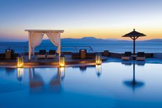 Mykonos Grand Hotel Resort A balcony on the sea http://www.amenityadvisor.com/wp/mykonos-grand/