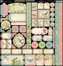 Graphic 45 - Botanical Tea - Icons, Tags, Buttons, 12x12 Sticker Sheet - 0893 - Pre-order Only