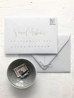 Frosty pastel blue envelopes for modern classic stylish luxury wedding with golden address lettering Calligraphy Envelope, Modern Calligraphy, Luxury Wedding, Boho Wedding, Nordic Wedding, Blue Envelopes, Pastel Blue, Minimalist Wedding, Modern Classic