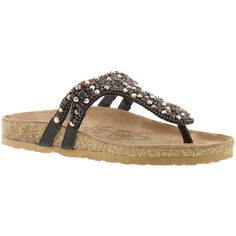 Naughty Monkey Treasure Island Women's Black Sandal 7.5 M ($75) ❤ liked on Polyvore featuring shoes, sandals, black, black slip on shoes, black rhinestone sandals, embellished sandals, jeweled sandals and black embellished sandals
