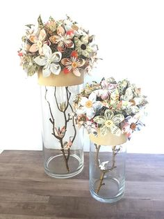 Wedding and event centerpiece paper origami flowers, book page flowers, sheet music