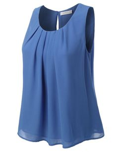 Look casual yet trendy during this season with our chiffon pleated sleeveless blouse top. A sleeveless chiffon blouse crafted from crepe with a pleated front and a buttoned keyhole back. All you have to do is thrown on a pair of skinny denim jeans and a necklace for a perfectly styled look in just five minutes. Feature 100% Polyester Featherweight, ultra soft material for all day comfort Double layered for extra coverage Loose fit / Back key hole with single button closure Hand wash cold…