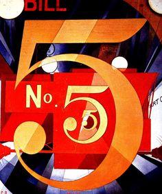 Vi o número 5 em ouro, 1928,Charles Demuth (EUA, 1883–1935) Óleo sobre papelão, 90 x 76 cm Coleção Alfred Stieglitz Metropolitan Museum of Art, Nova York