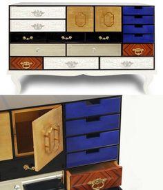 Coffres de créateurs de tiroirs Boca do Lobo gère les couleurs