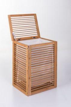 Premio living Wäschetruhe mit Stoffeinlage - Robuste Wäschetruhe, gefertigt aus Bambus. Platzsparende und modere Lösung für jedes Badezimmer.